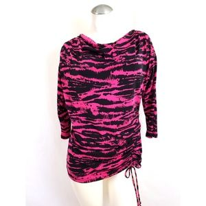 Michael Kors Size L Pink Black Top Drape Neck